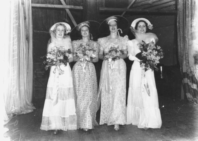 StateLibQld_1_125295_Bevy_of_bridesmaids,_1938